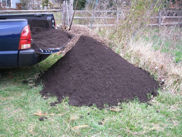 A pickup truck load of compost is about $10